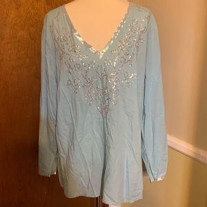 Lane Bryant 100% Cotton Blue Embellished Top